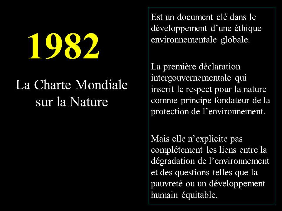 La Charte Mondiale sur la Nature Est un document clé dans le développement dune éthique environnementale globale.