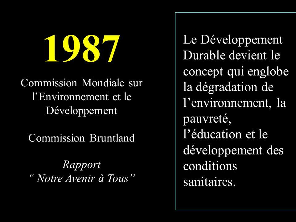 Commission Mondiale sur lEnvironnement et le Développement Commission Bruntland 1987 Rapport Notre Avenir à Tous Le Développement Durable devient le concept qui englobe la dégradation de lenvironnement, la pauvreté, léducation et le développement des conditions sanitaires.