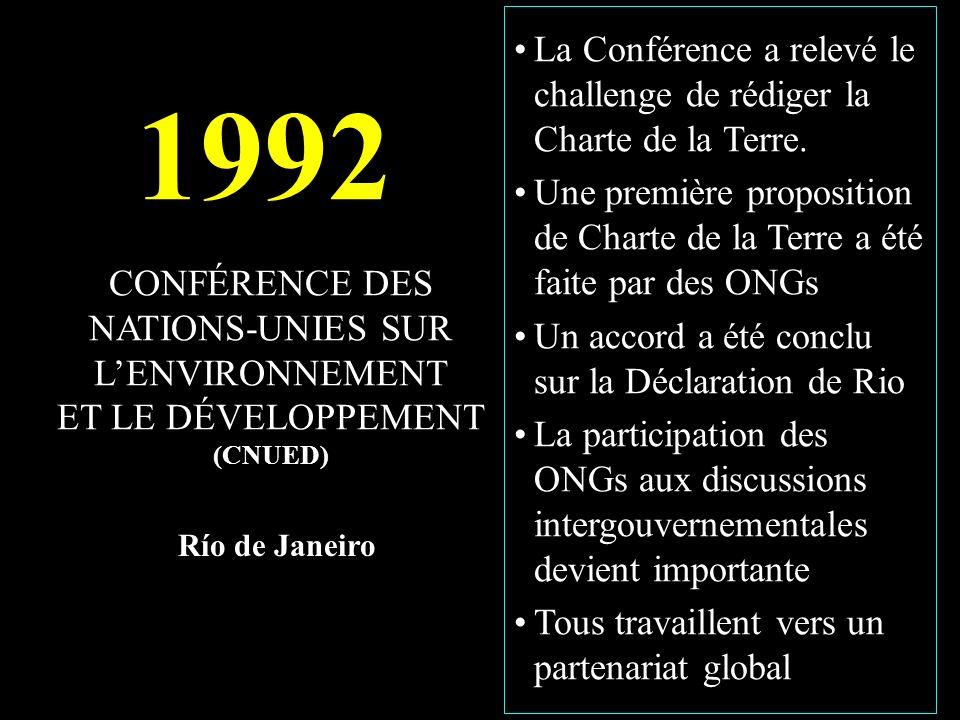 1992 CONFÉRENCE DES NATIONS-UNIES SUR LENVIRONNEMENT ET LE DÉVELOPPEMENT (CNUED) Río de Janeiro La Conférence a relevé le challenge de rédiger la Charte de la Terre.
