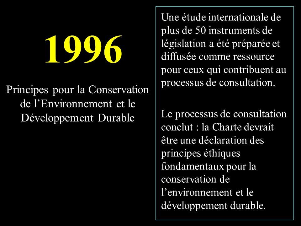 1996 Une étude internationale de plus de 50 instruments de législation a été préparée et diffusée comme ressource pour ceux qui contribuent au processus de consultation.