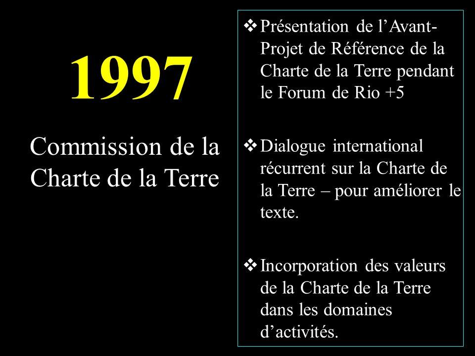 1997 Présentation de lAvant- Projet de Référence de la Charte de la Terre pendant le Forum de Rio +5 Dialogue international récurrent sur la Charte de la Terre – pour améliorer le texte.