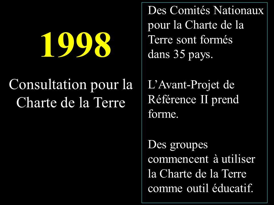 1998 Des Comités Nationaux pour la Charte de la Terre sont formés dans 35 pays.