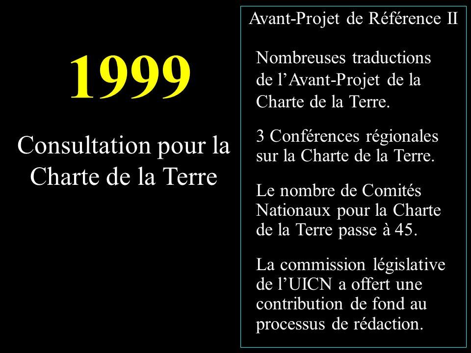 1999 Nombreuses traductions de lAvant-Projet de la Charte de la Terre.