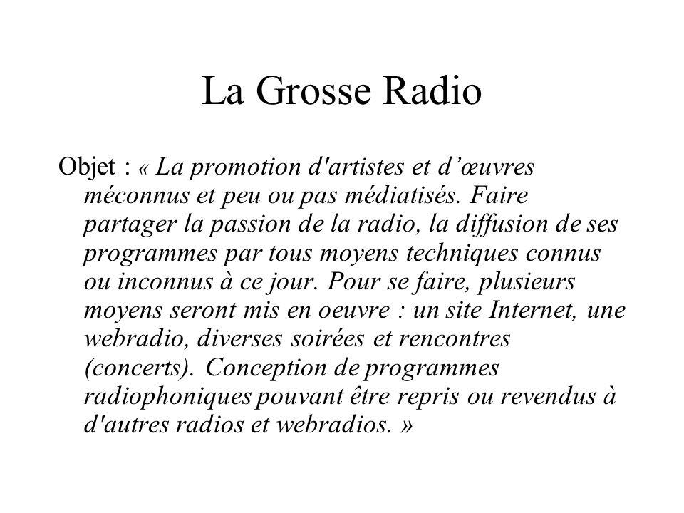 La Grosse Radio Objet : « La promotion d'artistes et dœuvres méconnus et peu ou pas médiatisés. Faire partager la passion de la radio, la diffusion de