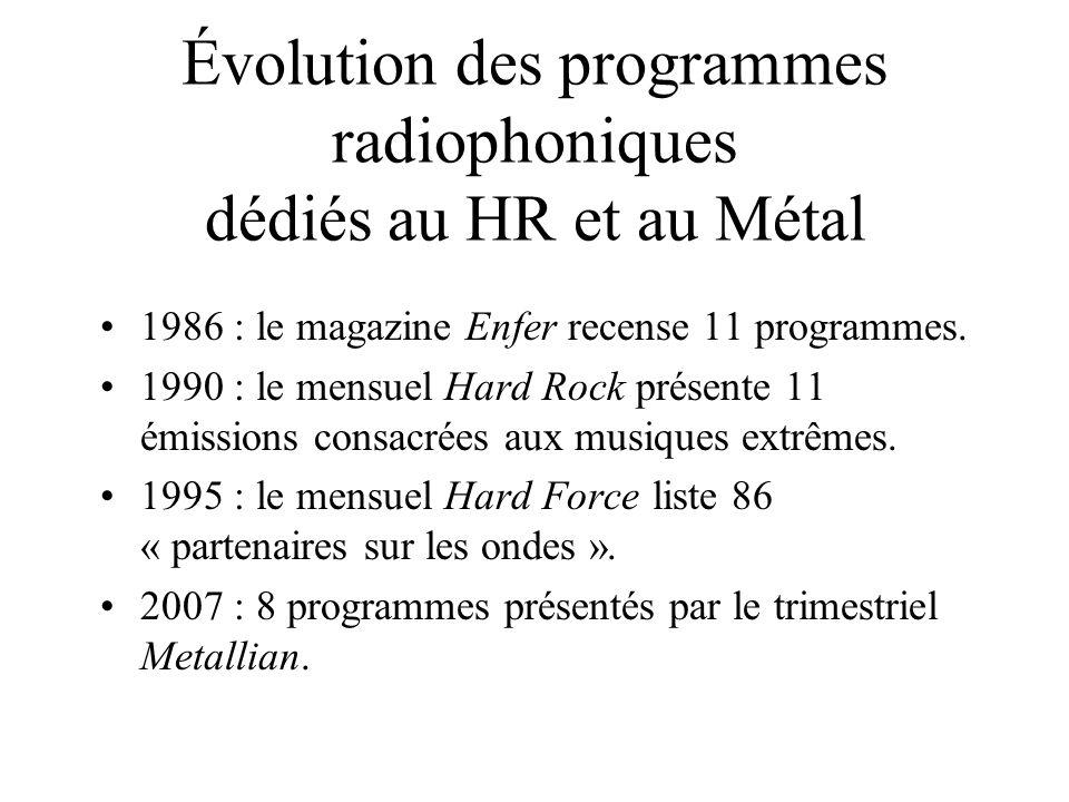 Évolution des programmes radiophoniques dédiés au HR et au Métal 1986 : le magazine Enfer recense 11 programmes. 1990 : le mensuel Hard Rock présente