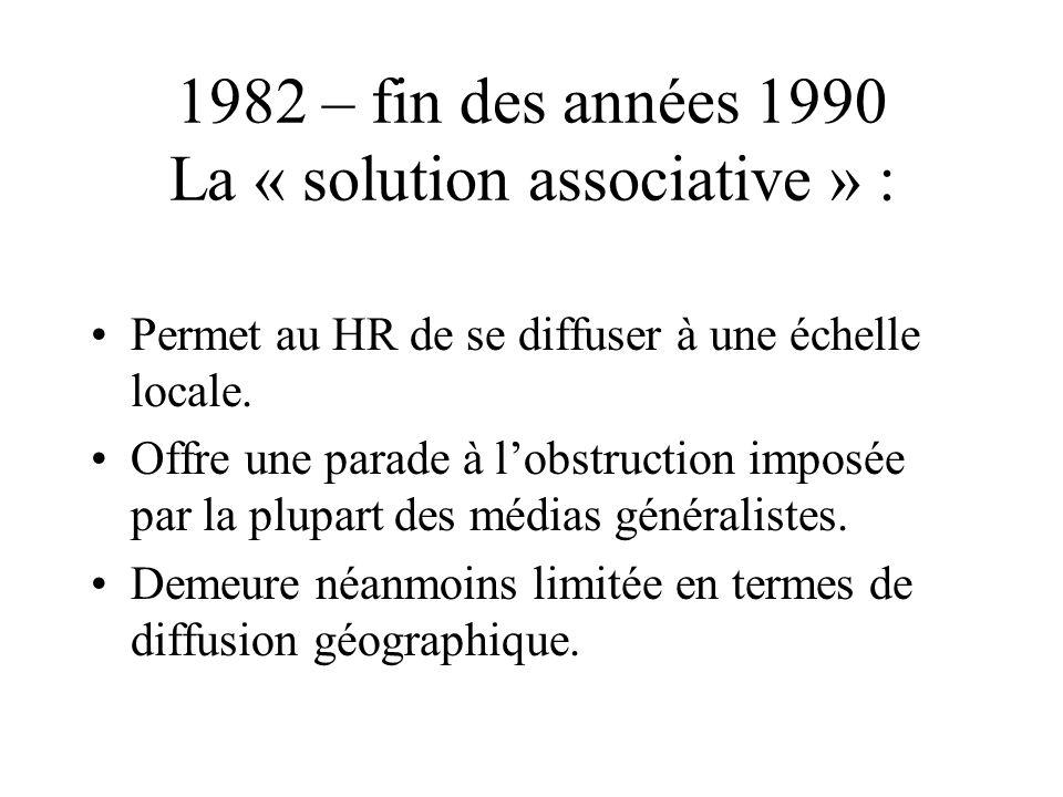 1982 – fin des années 1990 La « solution associative » : Permet au HR de se diffuser à une échelle locale. Offre une parade à lobstruction imposée par