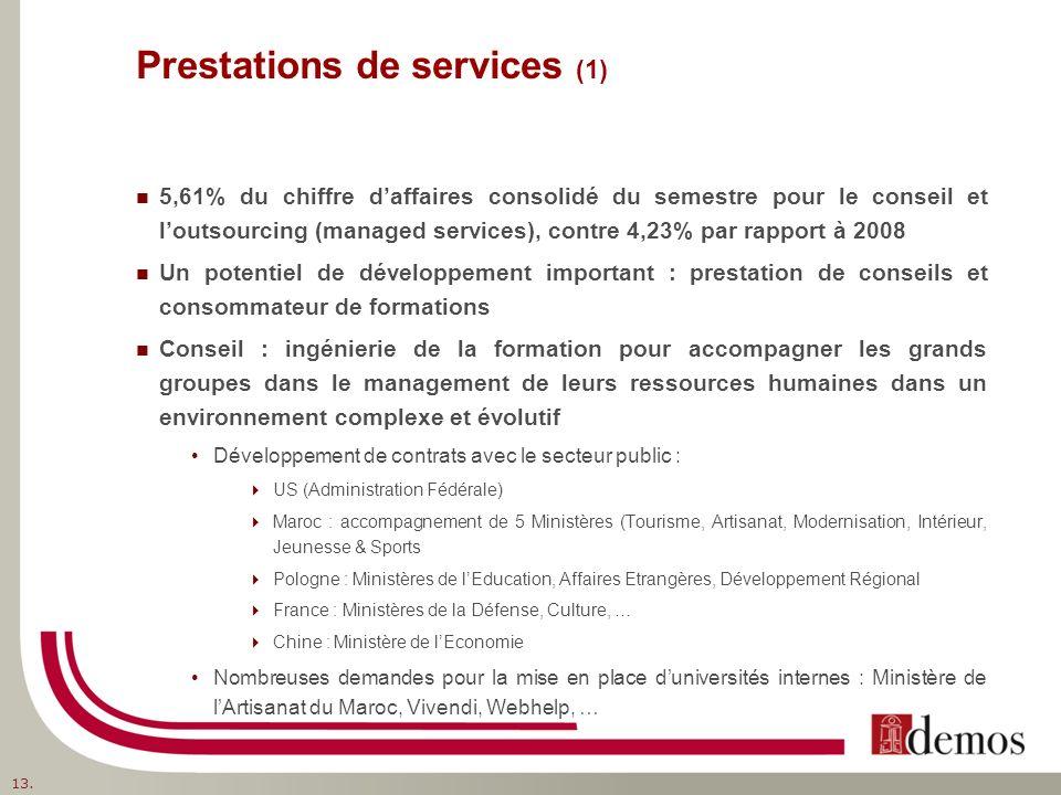 Prestations de services (1) 5,61% du chiffre daffaires consolidé du semestre pour le conseil et loutsourcing (managed services), contre 4,23% par rapport à 2008 Un potentiel de développement important : prestation de conseils et consommateur de formations Conseil : ingénierie de la formation pour accompagner les grands groupes dans le management de leurs ressources humaines dans un environnement complexe et évolutif Développement de contrats avec le secteur public : US (Administration Fédérale) Maroc : accompagnement de 5 Ministères (Tourisme, Artisanat, Modernisation, Intérieur, Jeunesse & Sports Pologne : Ministères de lEducation, Affaires Etrangères, Développement Régional France : Ministères de la Défense, Culture, … Chine : Ministère de lEconomie Nombreuses demandes pour la mise en place duniversités internes : Ministère de lArtisanat du Maroc, Vivendi, Webhelp, … 13.
