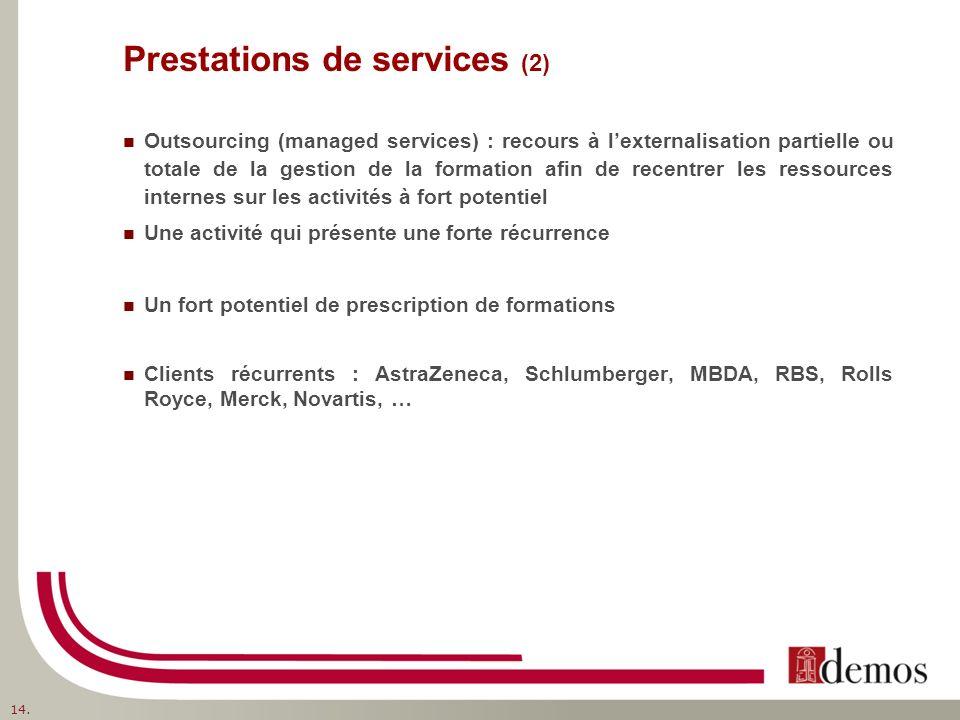 Prestations de services (2) Outsourcing (managed services) : recours à lexternalisation partielle ou totale de la gestion de la formation afin de rece