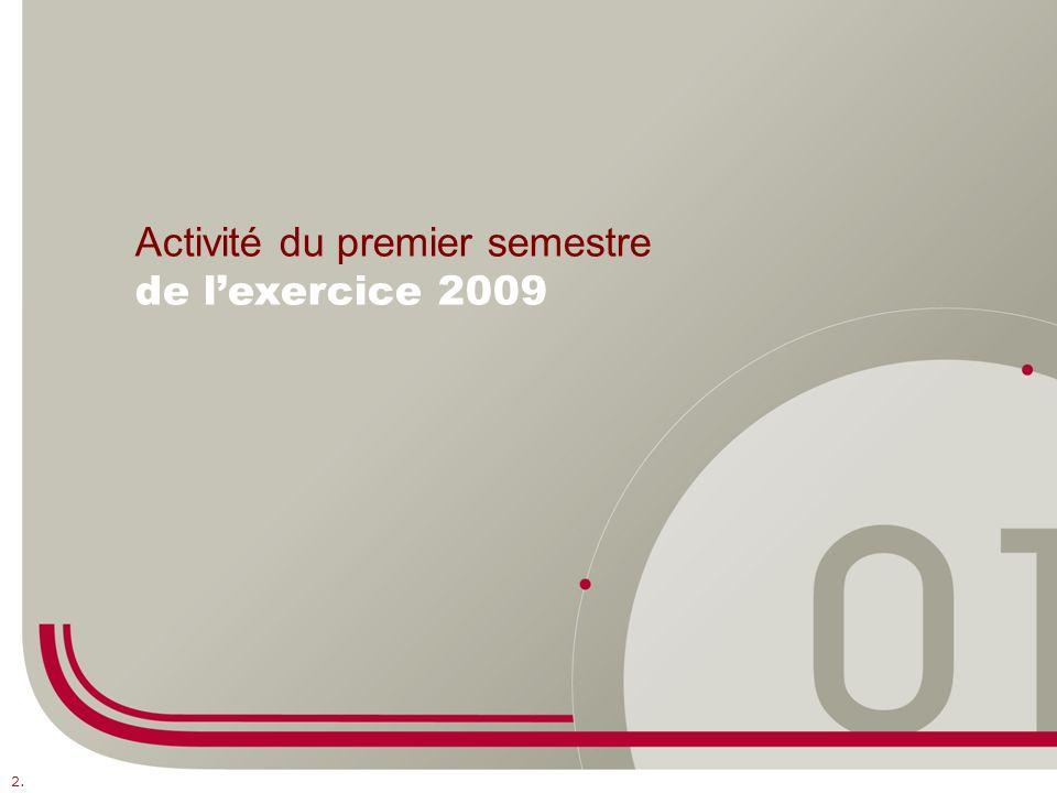 2. Activité du premier semestre de lexercice 2009