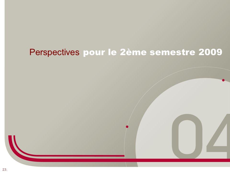 Perspectives pour le 2ème semestre 2009 23.
