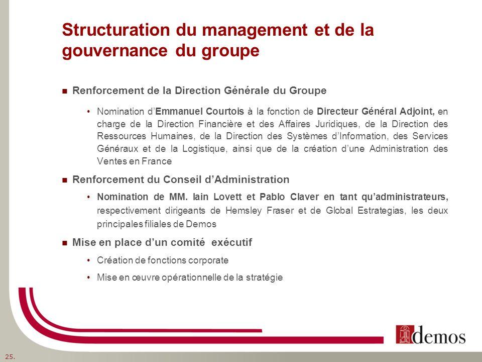 Structuration du management et de la gouvernance du groupe Renforcement de la Direction Générale du Groupe Nomination dEmmanuel Courtois à la fonction