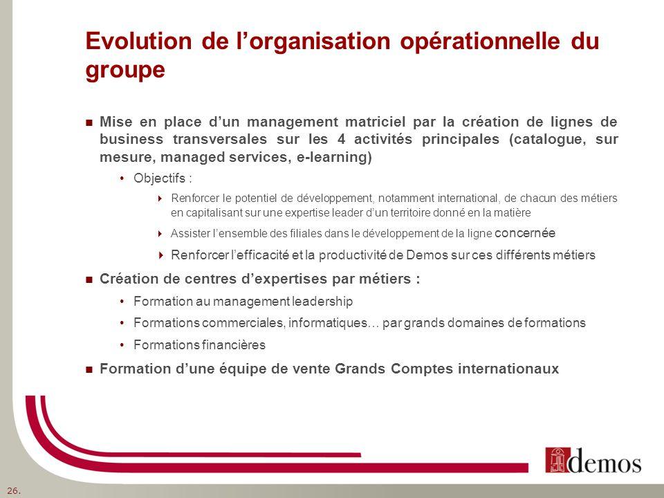 Evolution de lorganisation opérationnelle du groupe Mise en place dun management matriciel par la création de lignes de business transversales sur les