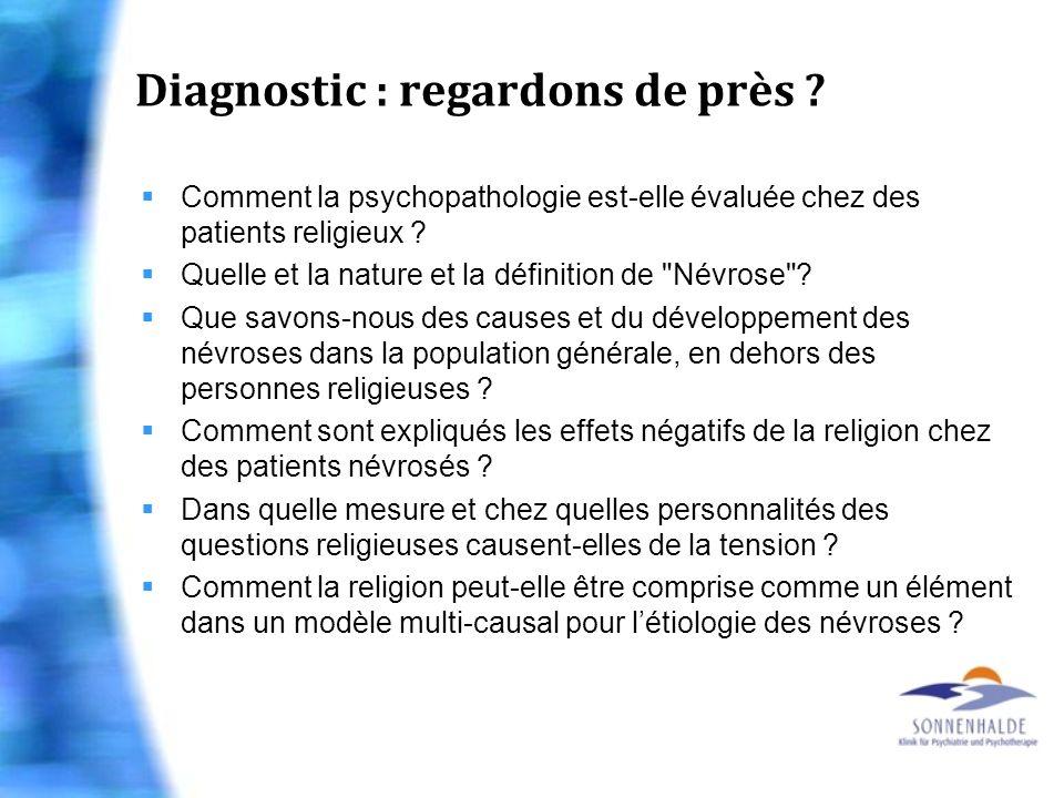 Diagnostic : regardons de près ? Comment la psychopathologie est-elle évaluée chez des patients religieux ? Quelle et la nature et la définition de