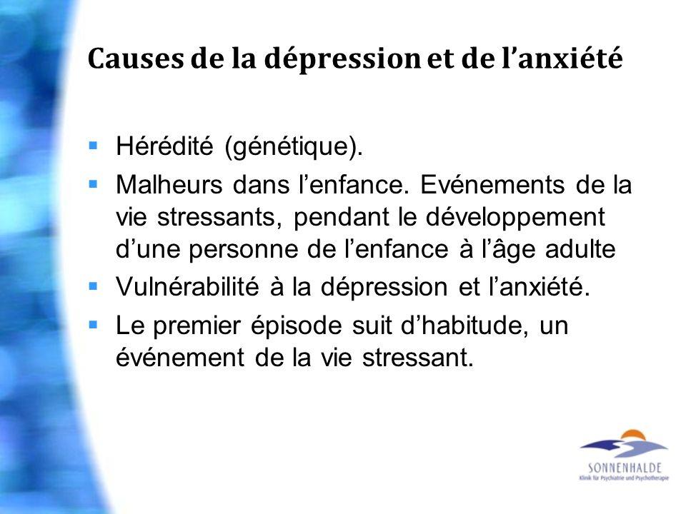 Causes de la dépression et de lanxiété Hérédité (génétique). Malheurs dans lenfance. Evénements de la vie stressants, pendant le développement dune pe