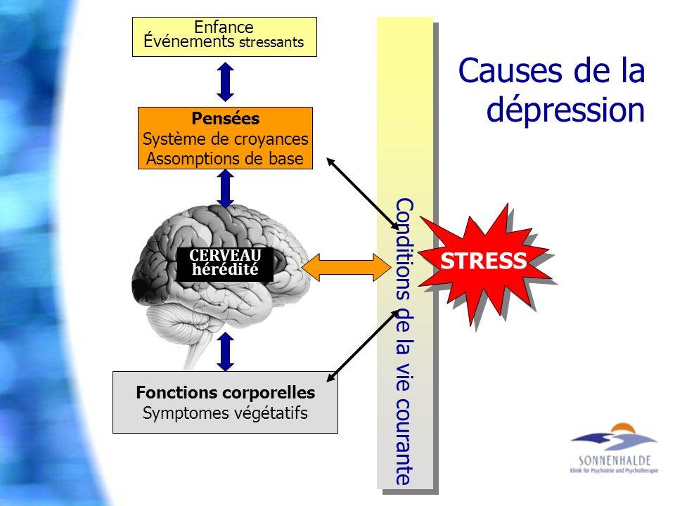 Conditions de la vie courante Causes de la dépression Enfance Événements stressants Pensées Système de croyances Assomptions de base Fonctions corpore