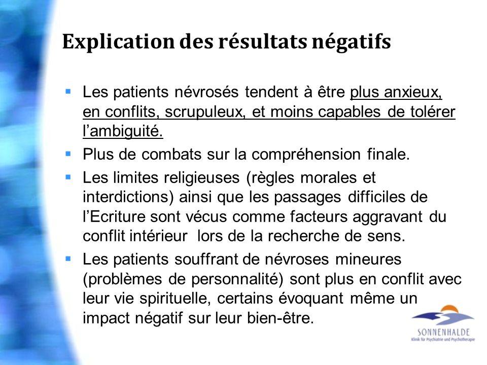 Explication des résultats négatifs Les patients névrosés tendent à être plus anxieux, en conflits, scrupuleux, et moins capables de tolérer lambiguité