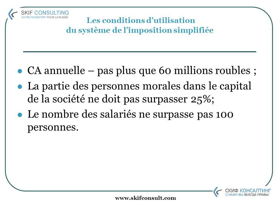 www.skifconsult.com Les conditions dutilisation du système de limposition simplifiée CA annuelle – pas plus que 60 millions roubles ; La partie des pe