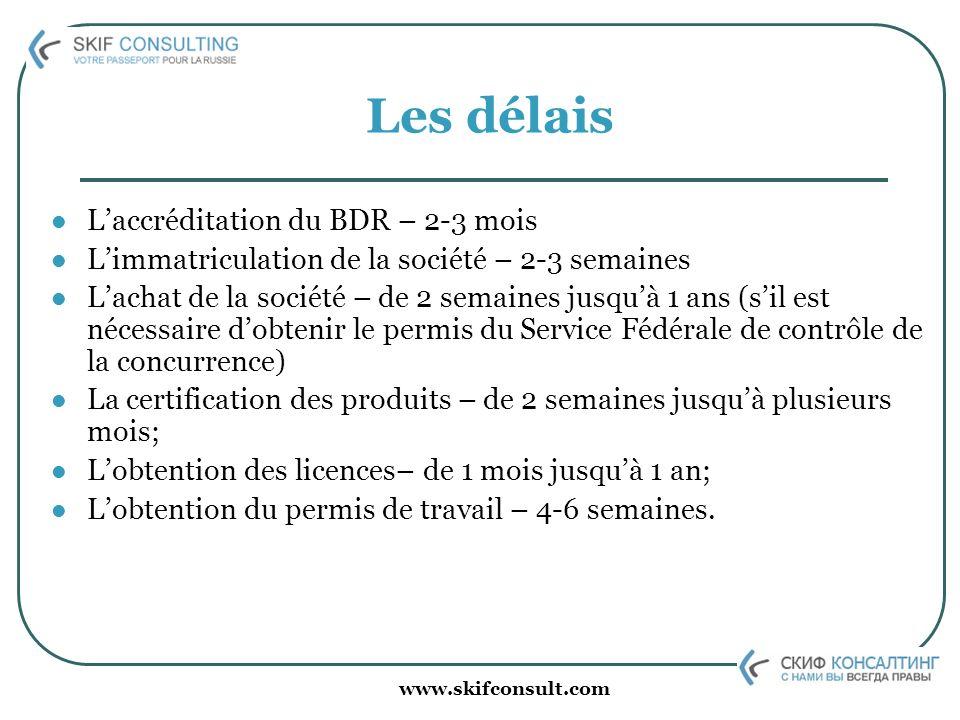 www.skifconsult.com Les délais Laccréditation du BDR – 2-3 mois Limmatriculation de la société – 2-3 semaines Lachat de la société – de 2 semaines jus