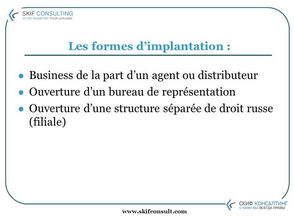 www.skifconsult.com Les formes dimplantation : Business de la part dun agent ou distributeur Ouverture dun bureau de représentation Ouverture dune str