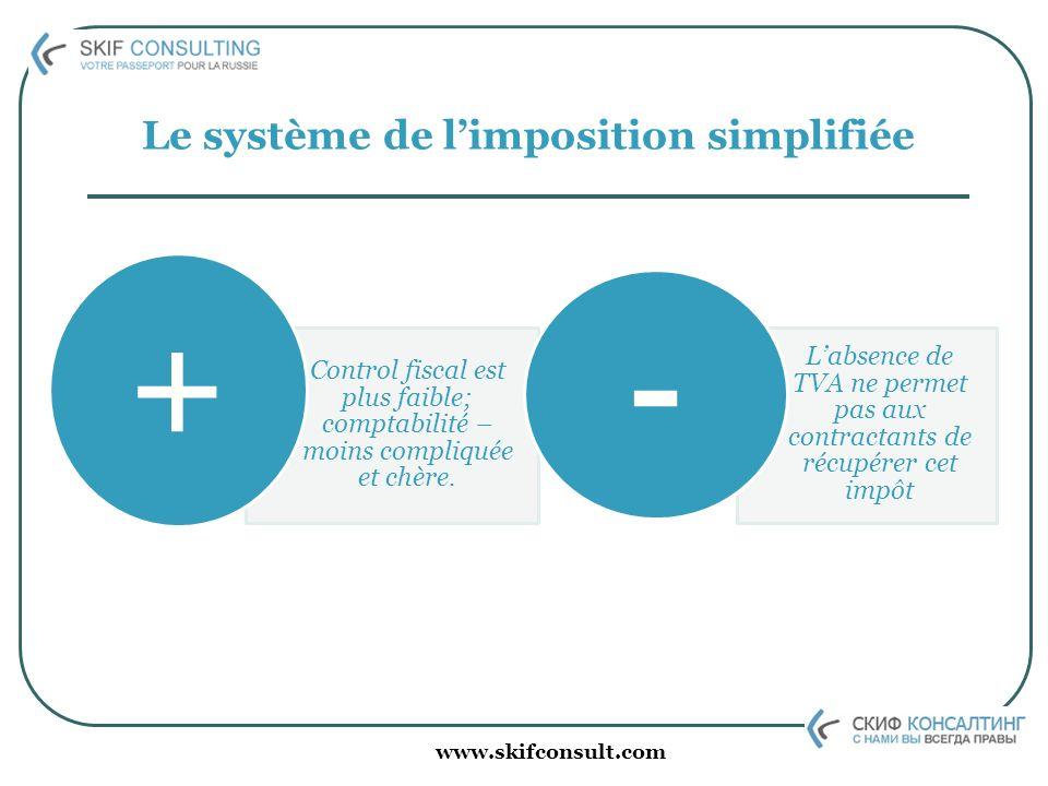 www.skifconsult.com Le système de limposition simplifiée Control fiscal est plus faible; comptabilité – moins compliquée et chère. + Labsence de TVA n
