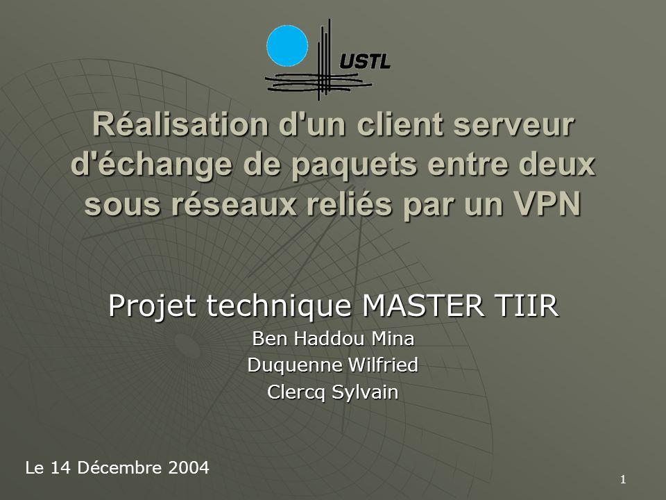 1 Réalisation d'un client serveur d'échange de paquets entre deux sous réseaux reliés par un VPN Projet technique MASTER TIIR Ben Haddou Mina Duquenne