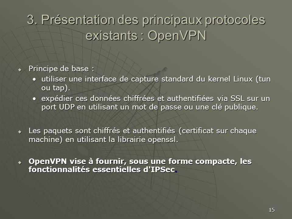 15 3. Présentation des principaux protocoles existants : OpenVPN Principe de base : Principe de base : utiliser une interface de capture standard du k