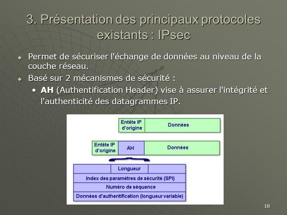 18 3. Présentation des principaux protocoles existants : IPsec Permet de sécuriser l'échange de données au niveau de la couche réseau. Permet de sécur