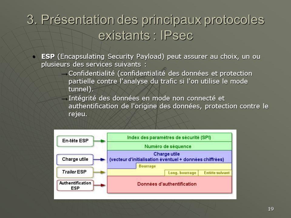 19 3. Présentation des principaux protocoles existants : IPsec ESP (Encapsulating Security Payload) peut assurer au choix, un ou plusieurs des service