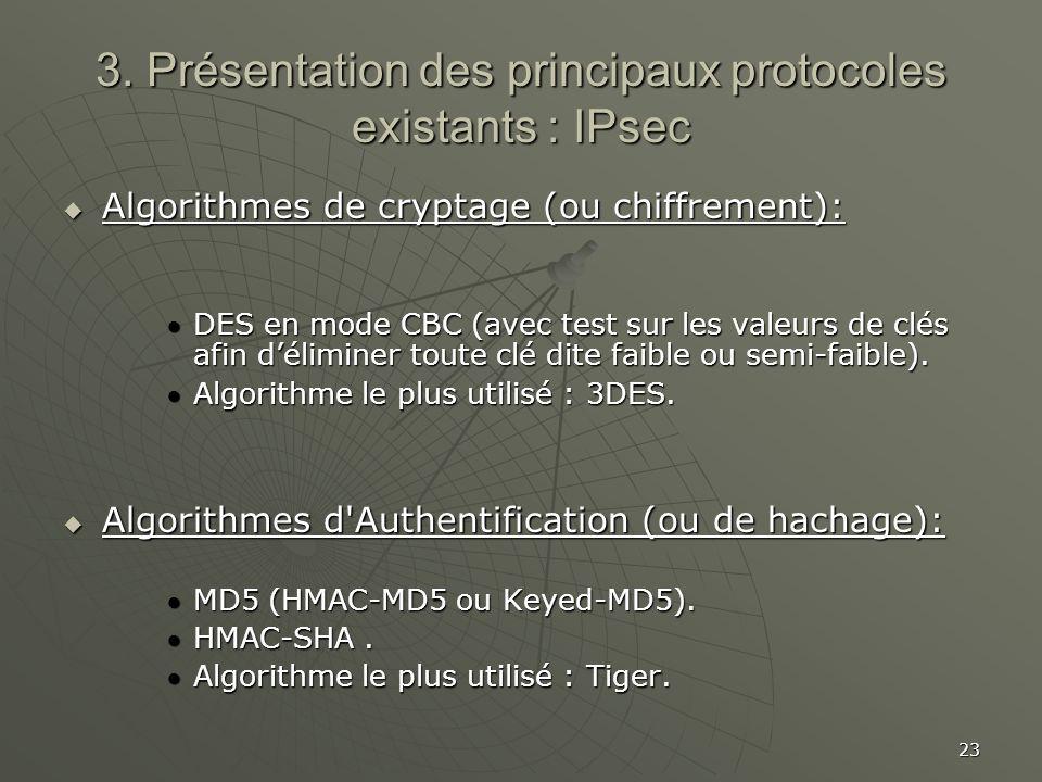 23 3. Présentation des principaux protocoles existants : IPsec Algorithmes de cryptage (ou chiffrement): Algorithmes de cryptage (ou chiffrement): DES