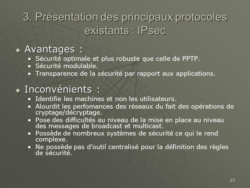25 3. Présentation des principaux protocoles existants : IPsec Avantages : Avantages : Sécurité optimale et plus robuste que celle de PPTP. Sécurité m