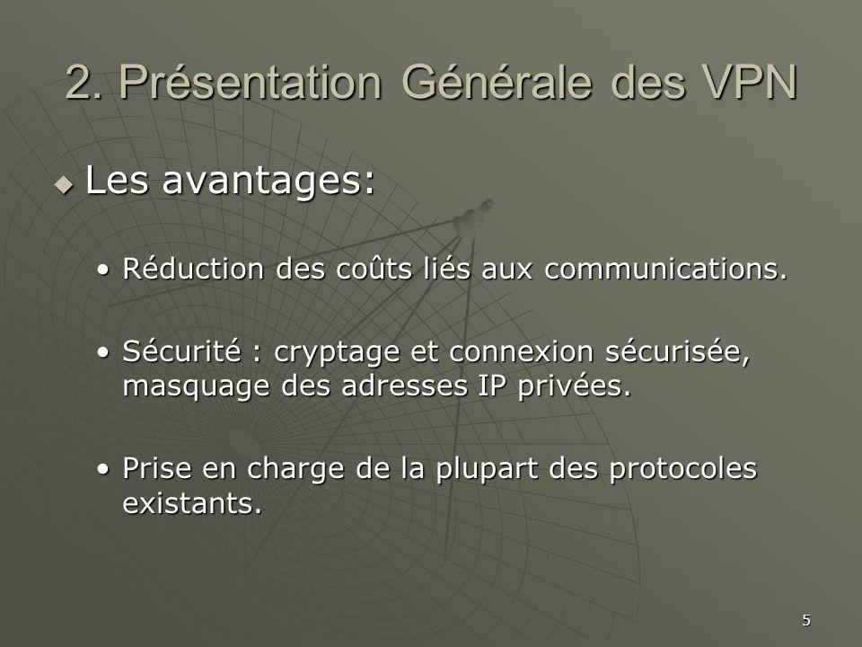 5 2. Présentation Générale des VPN Les avantages: Les avantages: Réduction des coûts liés aux communications.Réduction des coûts liés aux communicatio