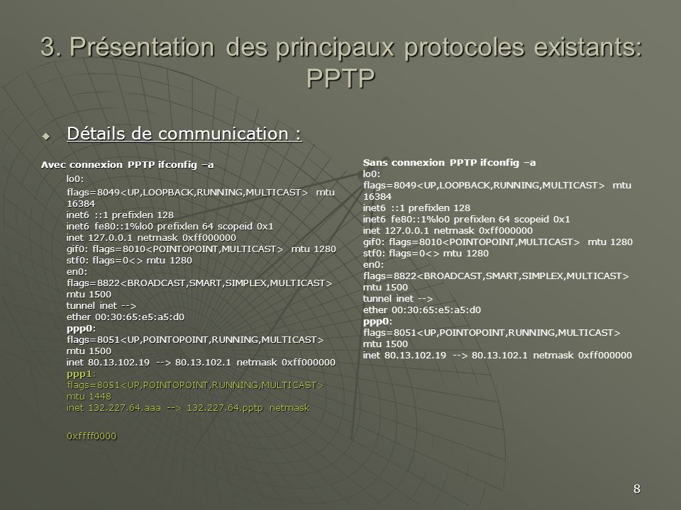 8 3. Présentation des principaux protocoles existants: PPTP Détails de communication : Détails de communication : Avec connexion PPTP ifconfig –a lo0: