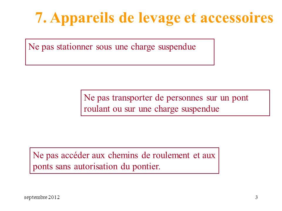 septembre 20123 7. Appareils de levage et accessoires Ne pas accéder aux chemins de roulement et aux ponts sans autorisation du pontier. Ne pas transp
