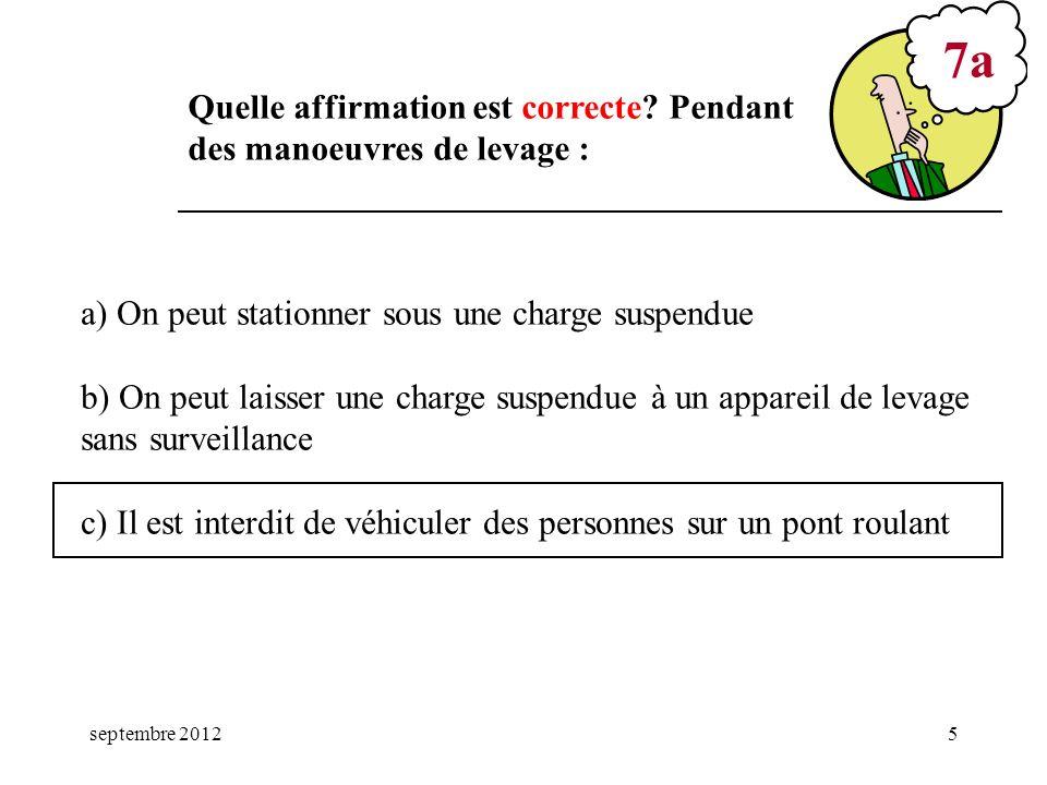 septembre 20125 a) On peut stationner sous une charge suspendue b) On peut laisser une charge suspendue à un appareil de levage sans surveillance c) I