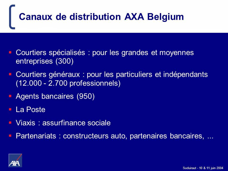 Suduiraut - 10 & 11 juin 2004 Canaux de distribution AXA Belgium Courtiers spécialisés : pour les grandes et moyennes entreprises (300) Courtiers géné