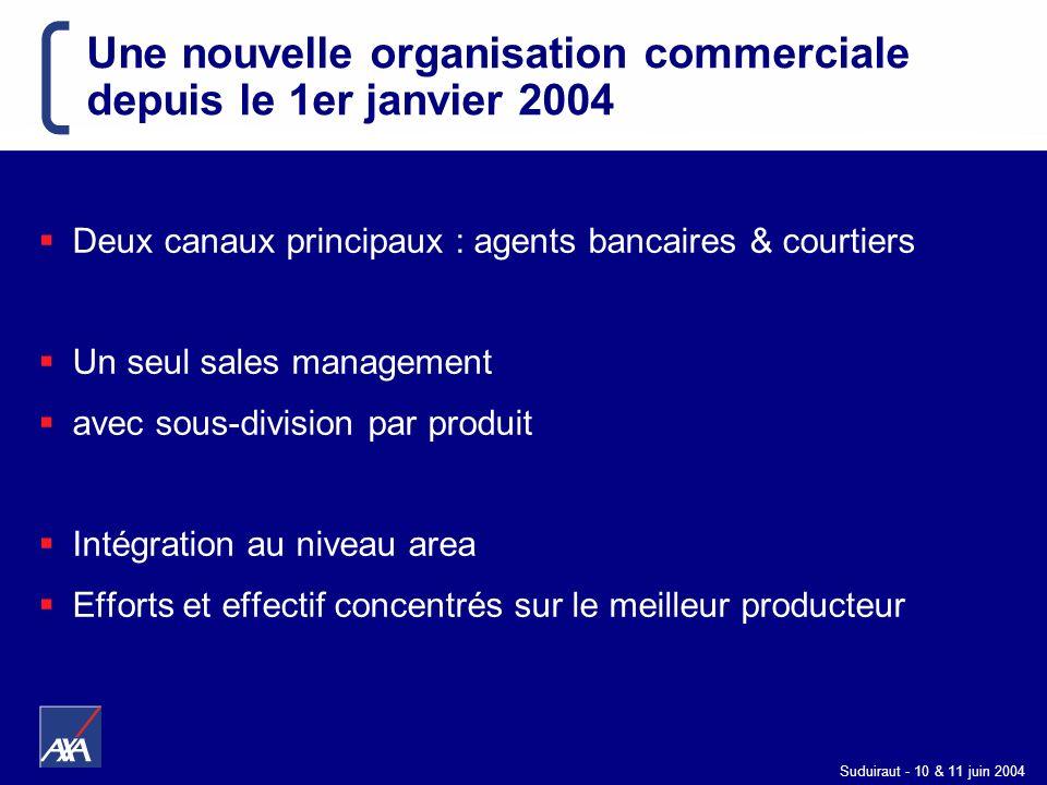Suduiraut - 10 & 11 juin 2004 Une nouvelle organisation commerciale depuis le 1er janvier 2004 Deux canaux principaux : agents bancaires & courtiers U