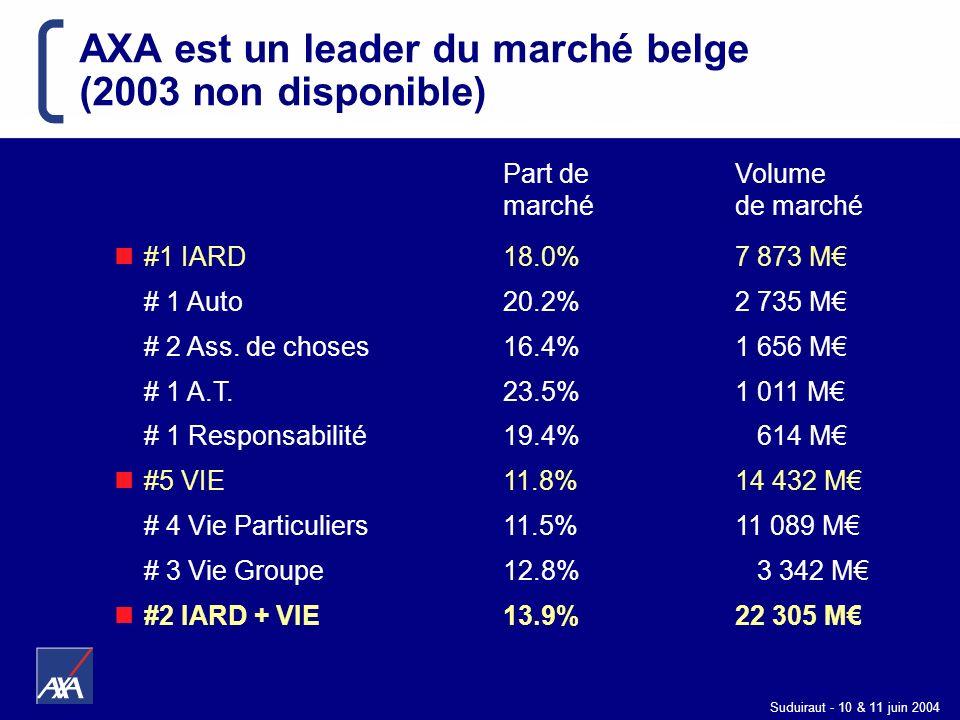 Suduiraut - 10 & 11 juin 2004 Part de Volume marchéde marché #1 IARD18.0%7 873 M # 1 Auto 20.2% 2 735 M # 2 Ass. de choses16.4%1 656 M # 1 A.T.23.5%1