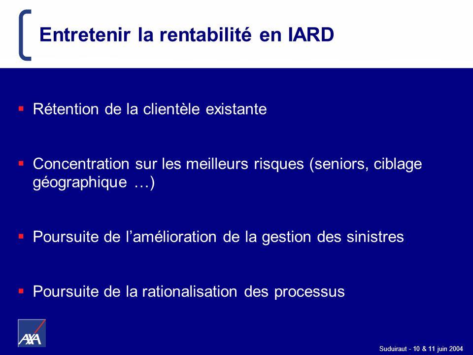 Suduiraut - 10 & 11 juin 2004 Entretenir la rentabilité en IARD Rétention de la clientèle existante Concentration sur les meilleurs risques (seniors,
