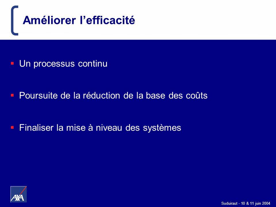 Suduiraut - 10 & 11 juin 2004 Améliorer lefficacité Un processus continu Poursuite de la réduction de la base des coûts Finaliser la mise à niveau des
