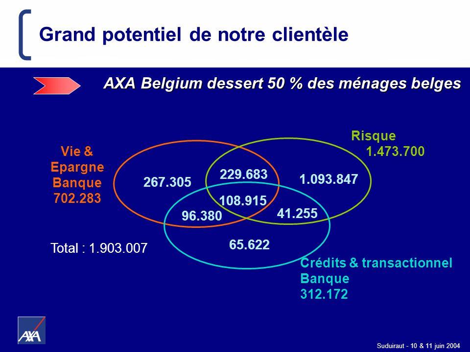 Suduiraut - 10 & 11 juin 2004 Grand potentiel de notre clientèle AXA Belgium dessert 50 % des ménages belges 108.915 Crédits & transactionnel Banque 3