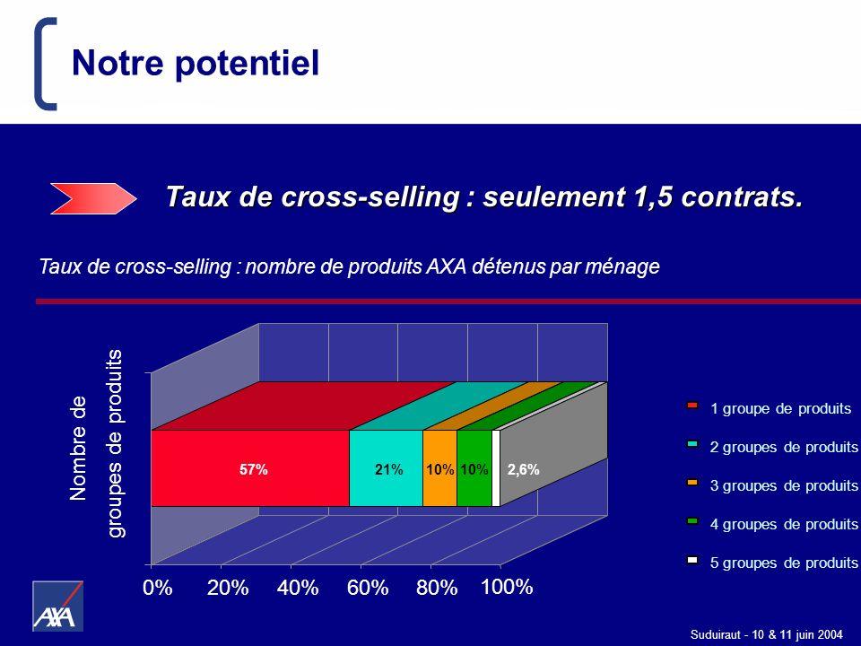 Suduiraut - 10 & 11 juin 2004 Notre potentiel Taux de cross-selling : seulement 1,5 contrats. 1 groupe de produits 2 groupes de produits 3 groupes de