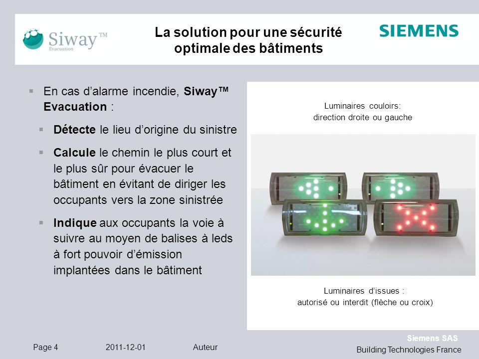 Siemens SAS Building Technologies France Luminaires couloirs: direction droite ou gauche Luminaires dissues : autorisé ou interdit (flèche ou croix) 2
