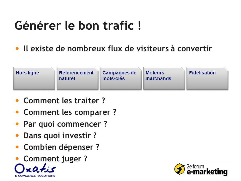 Générer le bon trafic ! Il existe de nombreux flux de visiteurs à convertir Comment les traiter ? Comment les comparer ? Par quoi commencer ? Dans quo