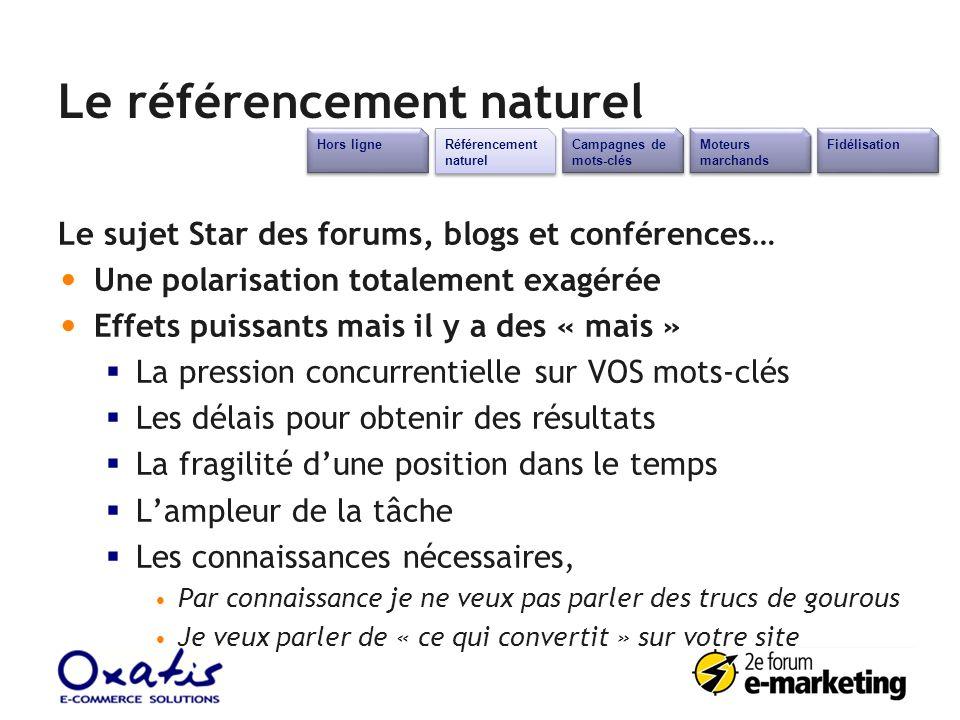 Le référencement naturel Le sujet Star des forums, blogs et conférences… Une polarisation totalement exagérée Effets puissants mais il y a des « mais