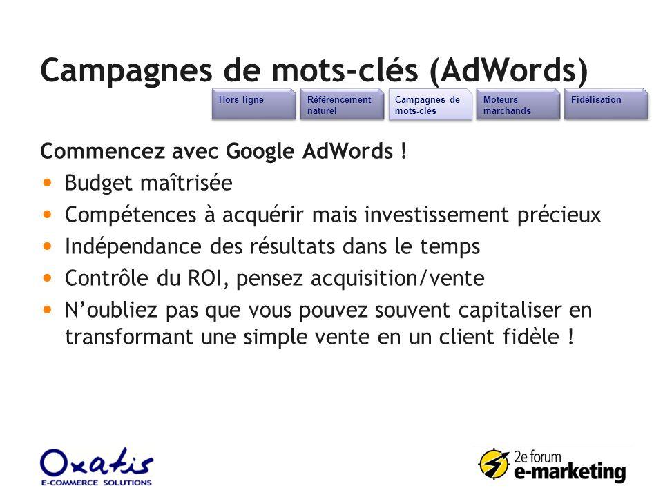 Campagnes de mots-clés (AdWords) Commencez avec Google AdWords ! Budget maîtrisée Compétences à acquérir mais investissement précieux Indépendance des