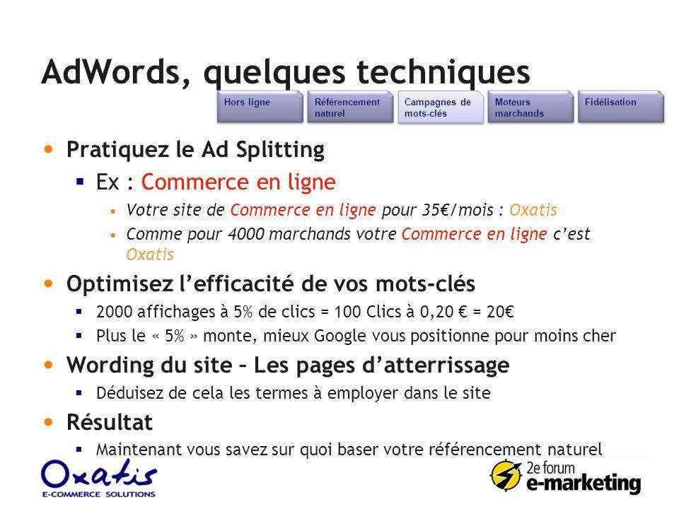 AdWords, quelques techniques Référencement naturel Campagnes de mots-clés Moteurs marchands Fidélisation Hors ligne Pratiquez le Ad Splitting Ex : Com
