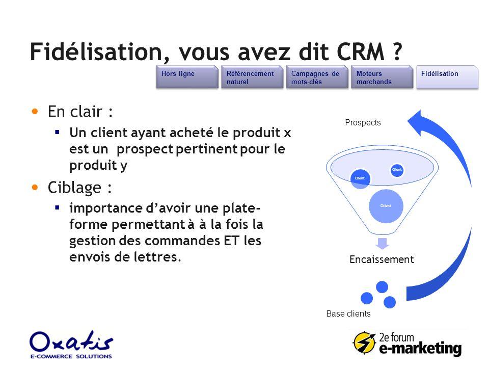 Fidélisation, vous avez dit CRM ? En clair : Un client ayant acheté le produit x est un prospect pertinent pour le produit y Ciblage : importance davo