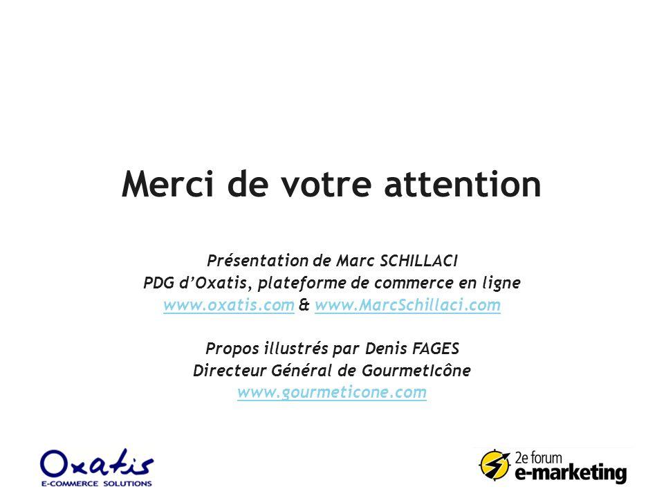 Merci de votre attention Présentation de Marc SCHILLACI PDG dOxatis, plateforme de commerce en ligne www.oxatis.comwww.oxatis.com & www.MarcSchillaci.