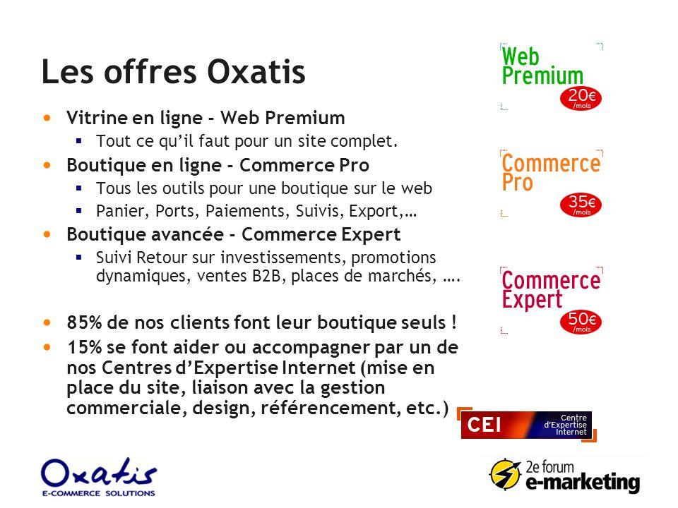 Les offres Oxatis Vitrine en ligne - Web Premium Tout ce quil faut pour un site complet. Boutique en ligne - Commerce Pro Tous les outils pour une bou