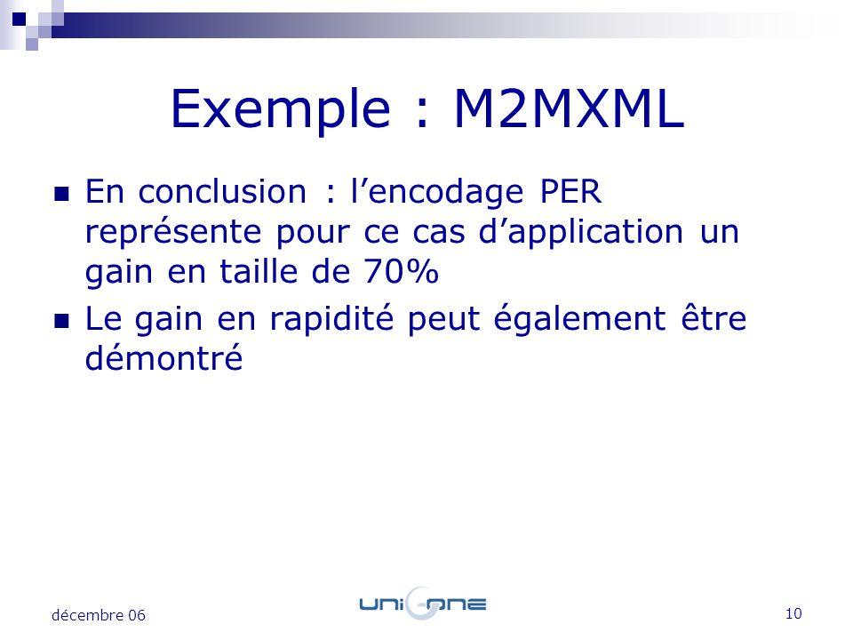 10 décembre 06 Exemple : M2MXML En conclusion : lencodage PER représente pour ce cas dapplication un gain en taille de 70% Le gain en rapidité peut ég